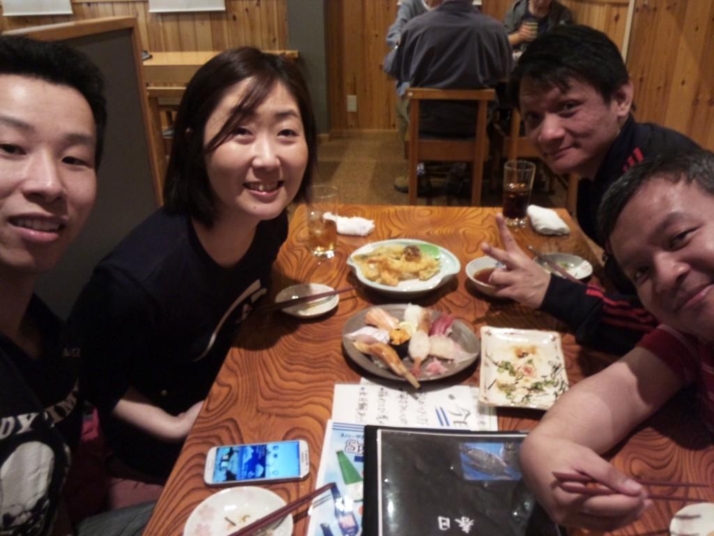 Ho-kun, Me, Kai-kun, Phil at a nice Japanese restaurant in Nara